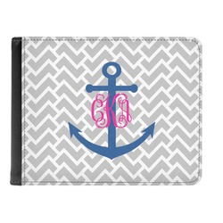 Monogram Anchor Genuine Leather Men's Bi-fold Wallet (Personalized)