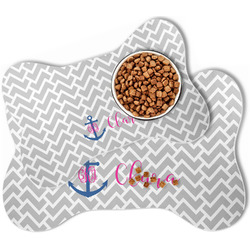 Monogram Anchor Bone Shaped Dog Food Mat (Personalized)