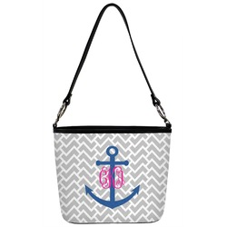 Monogram Anchor Bucket Bag w/ Genuine Leather Trim (Personalized)