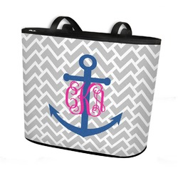 Monogram Anchor Bucket Tote w/ Genuine Leather Trim (Personalized)