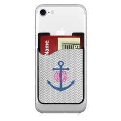 Monogram Anchor 2-in-1 Cell Phone Credit Card Holder & Screen Cleaner (Personalized)