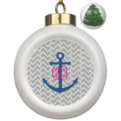 Monogram Anchor Ceramic Ball Ornament - Christmas Tree