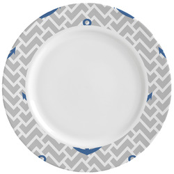Monogram Anchor Ceramic Dinner Plates (Set of 4) (Personalized)
