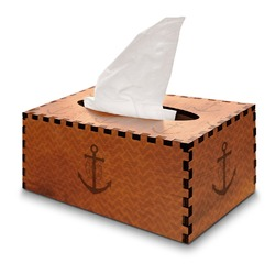 Monogram Anchor Wooden Tissue Box Cover - Rectangle (Personalized)