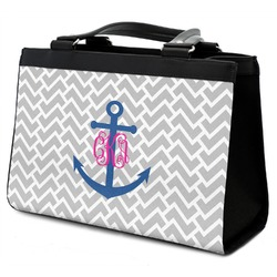 Monogram Anchor Classic Tote Purse w/ Leather Trim (Personalized)