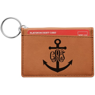 Monogram Anchor Leatherette Keychain ID Holder (Personalized)