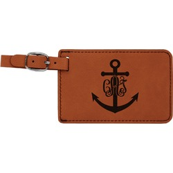 Monogram Anchor Leatherette Luggage Tag (Personalized)