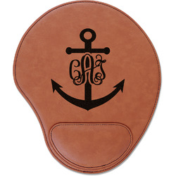 Monogram Anchor Leatherette Mouse Pad with Wrist Support (Personalized)