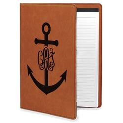 Monogram Anchor Leatherette Portfolio with Notepad - Large - Single Sided (Personalized)