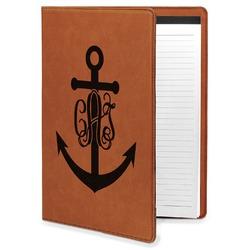 Monogram Anchor Leatherette Portfolio with Notepad (Personalized)