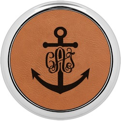 Monogram Anchor Leatherette Round Coaster w/ Silver Edge - Single or Set (Personalized)