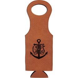Monogram Anchor Leatherette Wine Tote (Personalized)