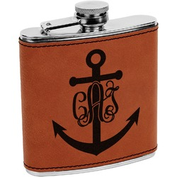 Monogram Anchor Leatherette Wrapped Stainless Steel Flask (Personalized)