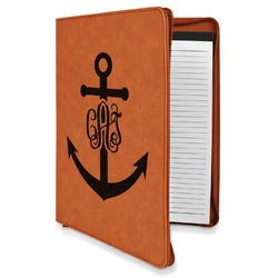 Monogram Anchor Leatherette Zipper Portfolio with Notepad (Personalized)