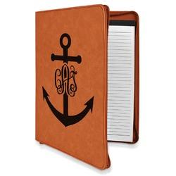 Monogram Anchor Leatherette Zipper Portfolio with Notepad (Personalized)
