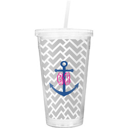 Monogram Anchor Double Wall Tumbler with Straw (Personalized)