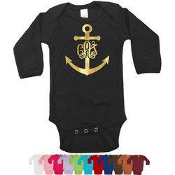 Monogram Anchor Foil Bodysuit - Long Sleeves - 6-12 months - Gold, Silver or Rose Gold (Personalized)