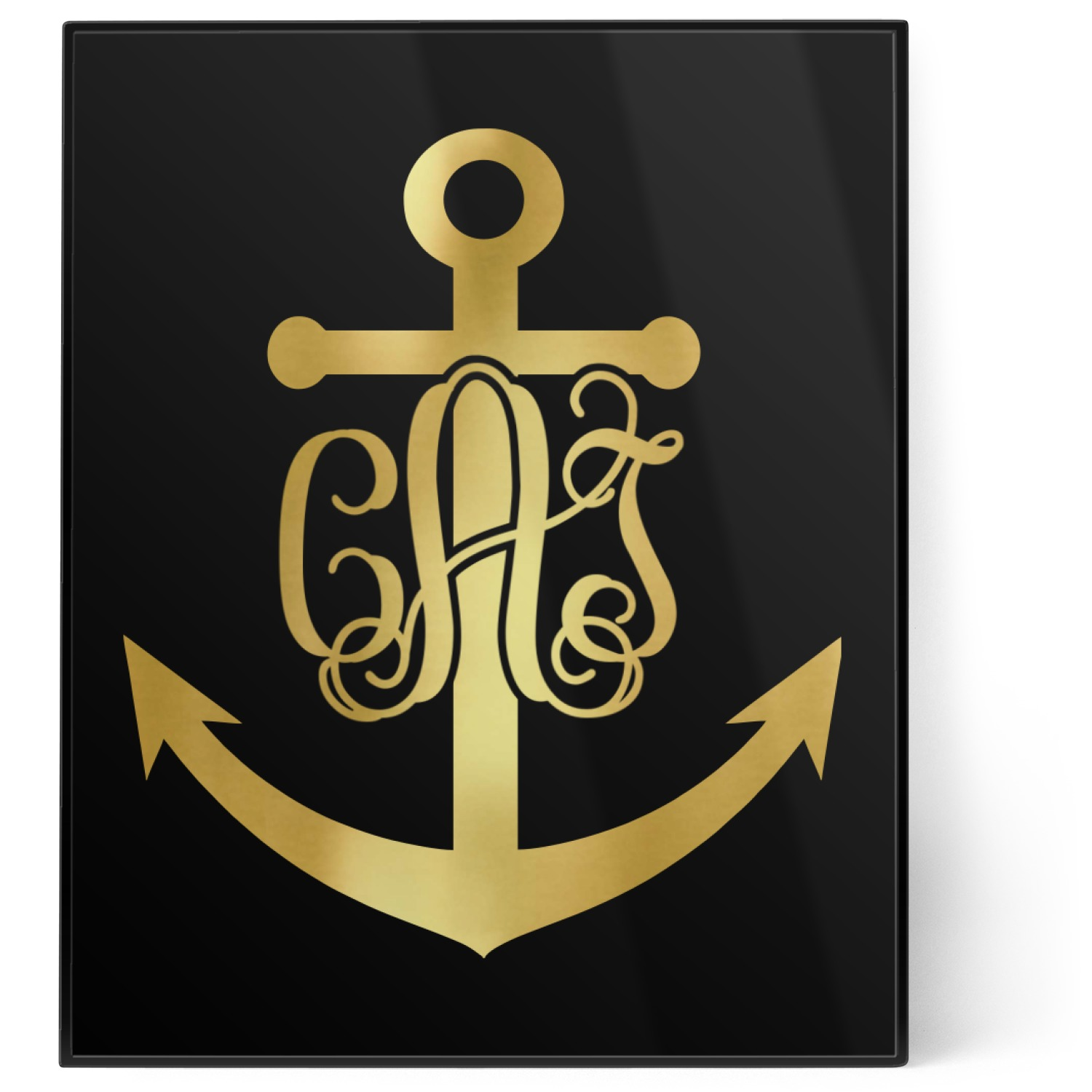 monogram anchor 8x10 foil wall art black personalized youcustomizeit. Black Bedroom Furniture Sets. Home Design Ideas