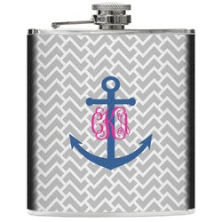 Monogram Anchor Genuine Leather Flask (Personalized)