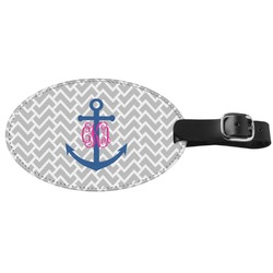 Monogram Anchor Genuine Leather Oval Luggage Tag (Personalized)