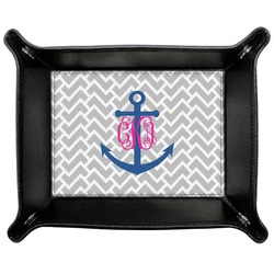 Monogram Anchor Genuine Leather Valet Tray (Personalized)