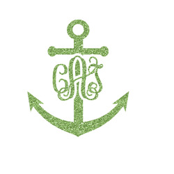 Monogram Anchor Glitter Iron On Transfer- Custom Sized (Personalized)
