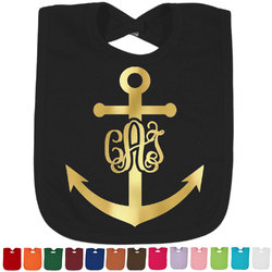 Monogram Anchor Foil Baby Bibs (Select Foil Color) (Personalized)