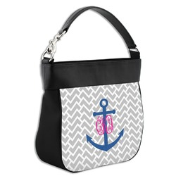 Monogram Anchor Hobo Purse w/ Genuine Leather Trim (Personalized)