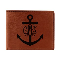 Monogram Anchor Leatherette Bifold Wallet (Personalized)