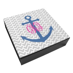Monogram Anchor Leatherette Keepsake Box - 8x8 (Personalized)