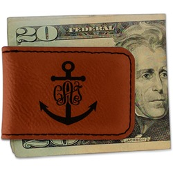 Monogram Anchor Leatherette Magnetic Money Clip - Single Sided (Personalized)