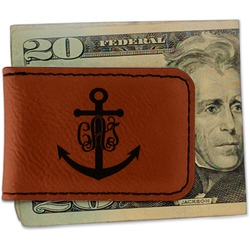 Monogram Anchor Leatherette Magnetic Money Clip (Personalized)