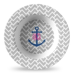 Monogram Anchor Plastic Bowl - Microwave Safe - Composite Polymer (Personalized)