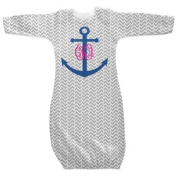Monogram Anchor Newborn Gown (Personalized)