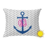 Monogram Anchor Outdoor Throw Pillow (Rectangular) (Personalized)