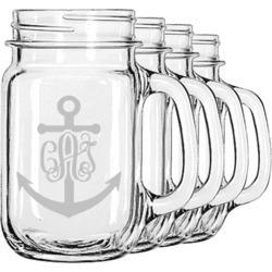 Monogram Anchor Mason Jar Mugs (Set of 4) (Personalized)