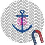Monogram Anchor Round Fridge Magnet