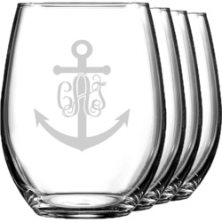 Monogram Anchor Wine Glasses (Stemless- Set of 4) (Personalized)