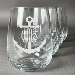 Monogram Anchor Stemless Wine Glasses (Set of 4) (Personalized)