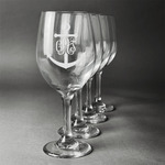 Monogram Anchor Wine Glasses (Set of 4) (Personalized)