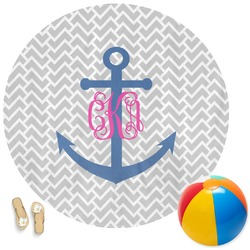 Monogram Anchor Round Beach Towel (Personalized)