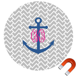 Monogram Anchor Round Car Magnet (Personalized)