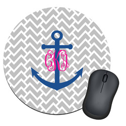 Monogram Anchor Round Mouse Pad (Personalized)