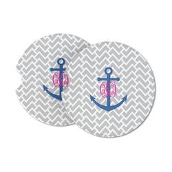 Monogram Anchor Sandstone Car Coasters (Personalized)