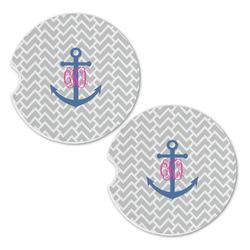 Monogram Anchor Sandstone Car Coasters - Set of 2 (Personalized)