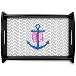 Monogram Anchor Black Wooden Tray (Personalized)