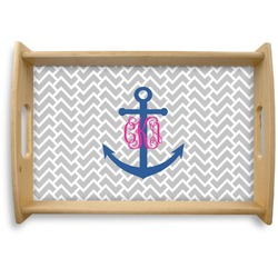 Monogram Anchor Natural Wooden Tray - Small (Personalized)