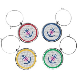 Monogram Anchor Wine Charms (Set of 4) (Personalized)