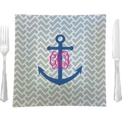 """Monogram Anchor Glass Square Lunch / Dinner Plate 9.5"""" - Single or Set of 4 (Personalized)"""