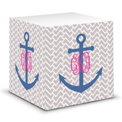 Monogram Anchor Sticky Note Cube (Personalized)